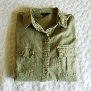 TopShop oversized button down shirt army green